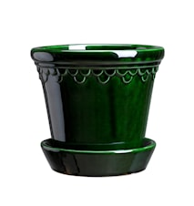 Copenhagen Potte med fat Glazed Green Emerald 10 cm