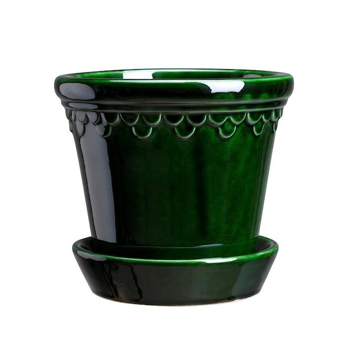 Köpenhamn Kruka med fat Glazed Green Emerald 10 cm