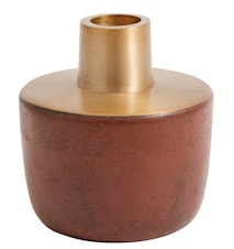 Lysestage Chub 9 cm - Rustrød/Messing