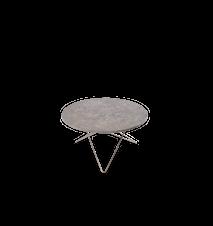 O Table Spisebord Rustfritt Stål/Grå Marmor Ø80