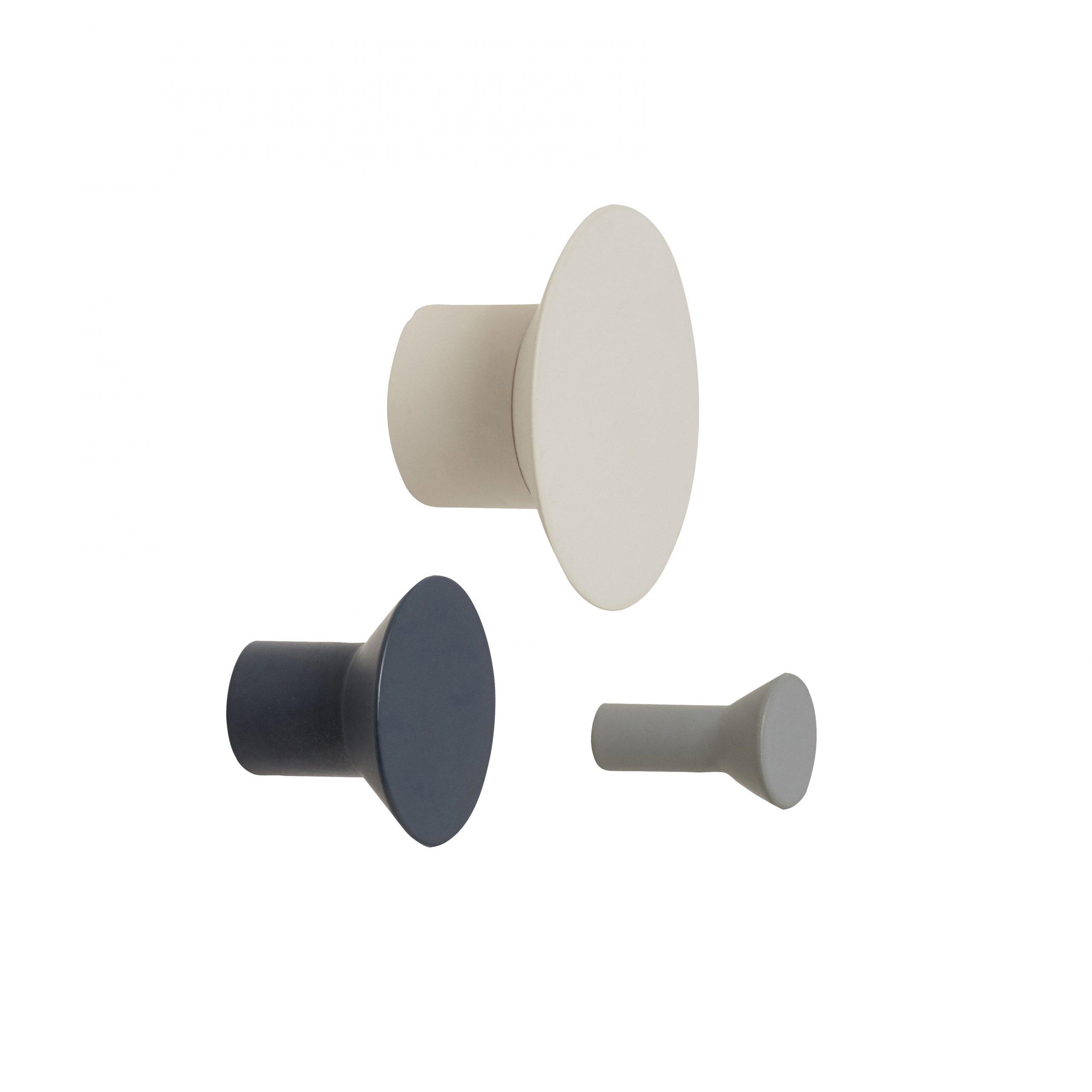 Knopp Metall Ljusgrå och Mörkgrå 3 st