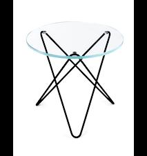 Mini O-table glass sidobord – Clear/black