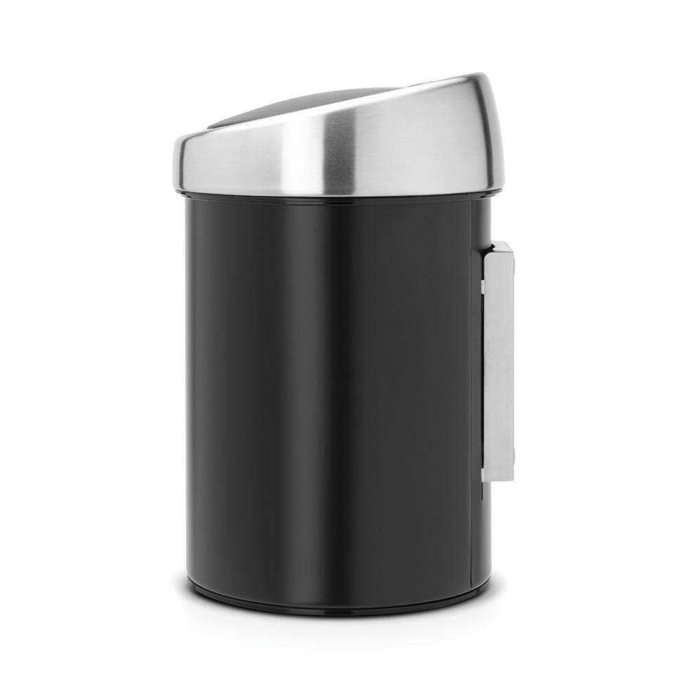 Touch Bin (för vägg) med mattborstat stållock plastinnerhink 3 L Svart