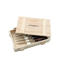 Steakmessen Gehamerd met houten handvat 6 st. incl. Houten doos