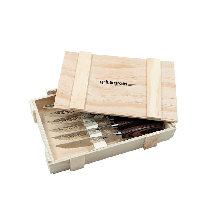 Steakknivar Hamrade med trähandtag 6st inkl. trälåda