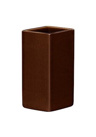 Ruutu vase keramisk 180 mm brun