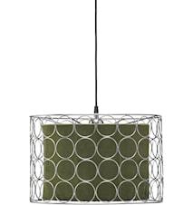 Ring Taklampe 40 cm Krom/Grønn