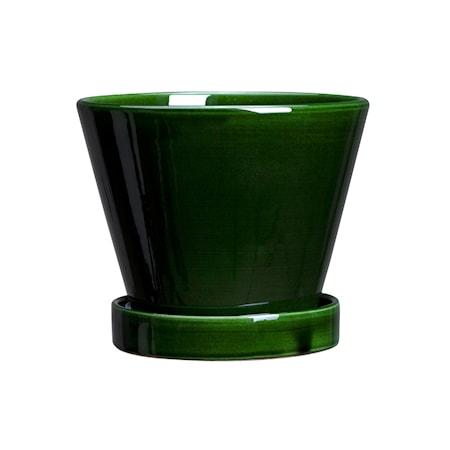 Julie Kruka med fat Glazed Green Emerald 13 cm