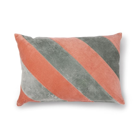 Striped Cushion Velvet Grey/Nude 40x60 cm