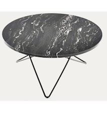 Big O table matbord Black Marquina/black steel