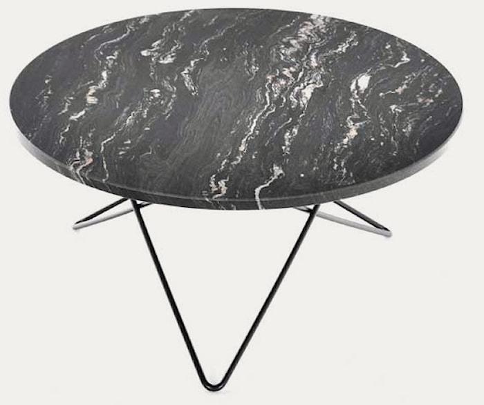 Big O table spisebord - Black Marquina/black steel
