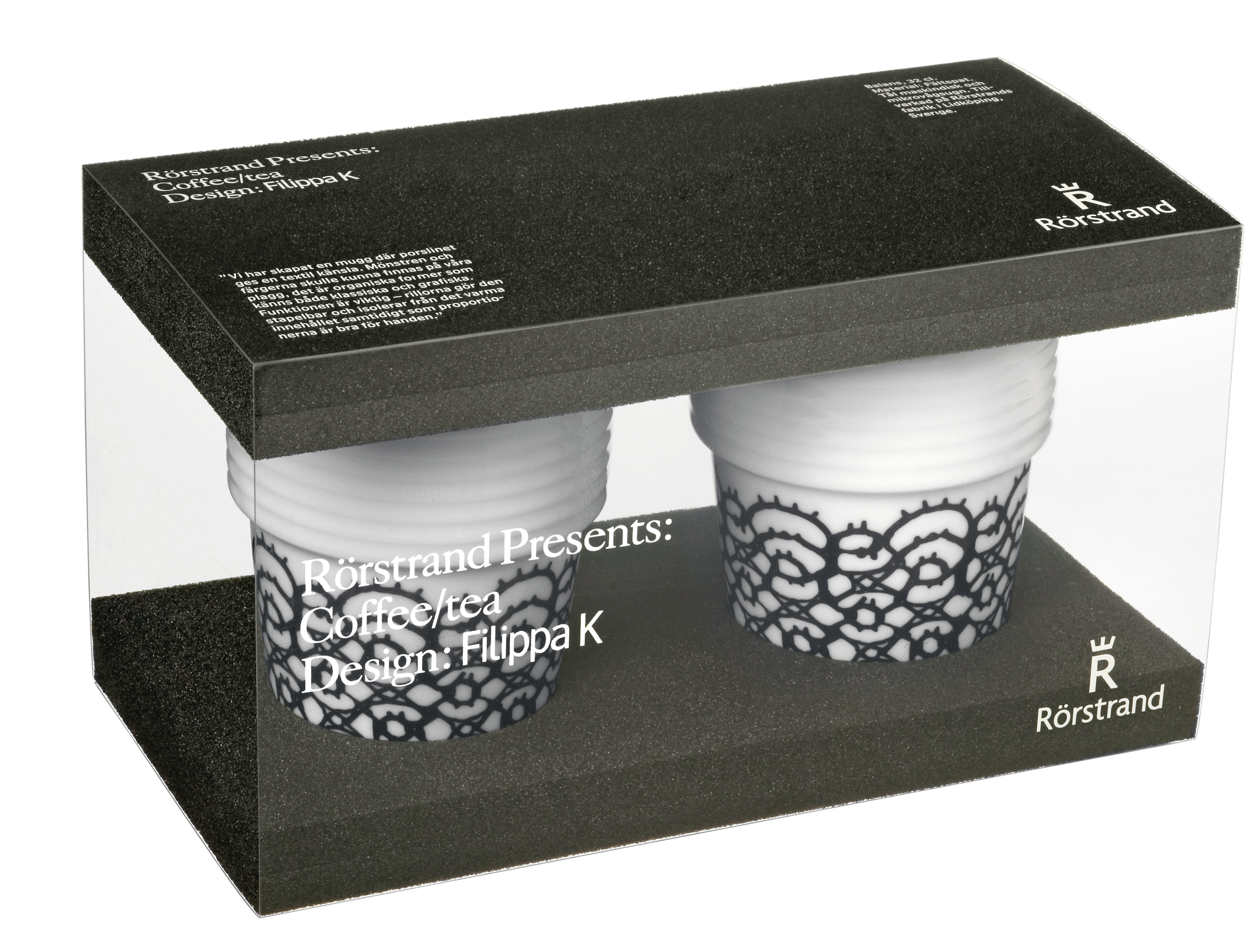 Filippa K Te- & kaffemugg Spets/svart 2-pack