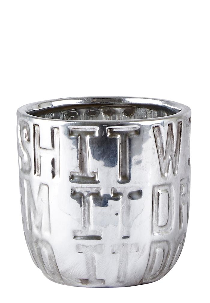 Skjuler - m. tekst - Keramik - Sølv - Mat - D 10,0cm - H 10,0cm - Stk.