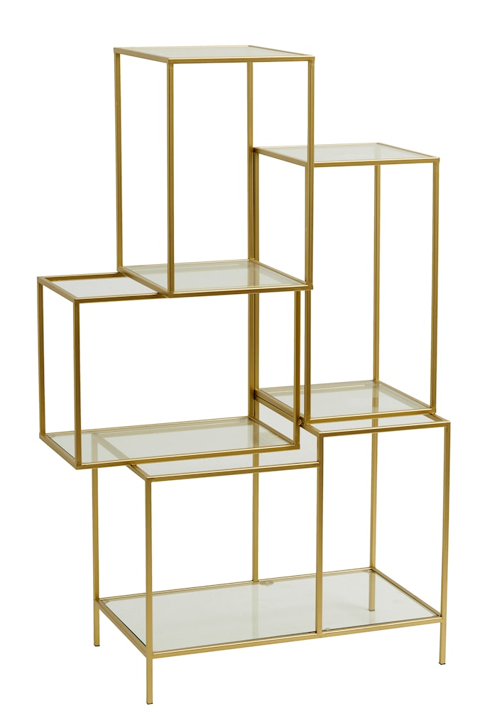 Rack with glass shelves