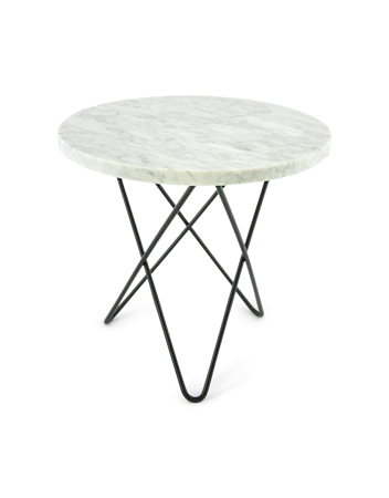 Mini O Table Hvit Marmor med Svart Ramme Ø40