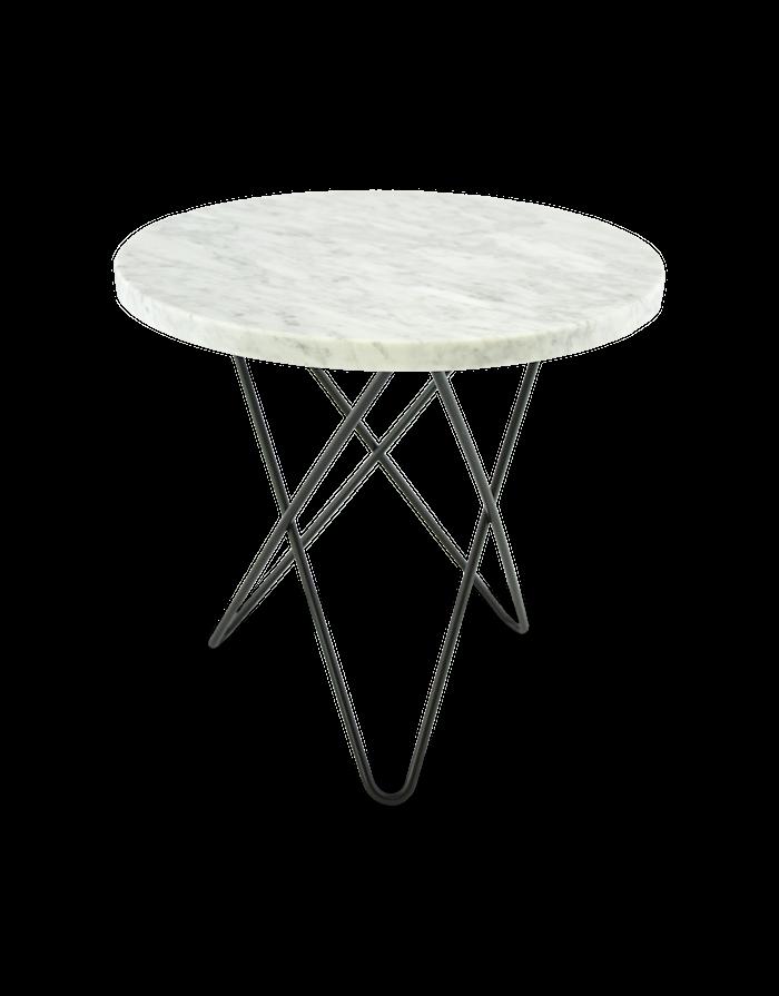 Mini O Table Hvit Marmor med Svart Ramme Ø40
