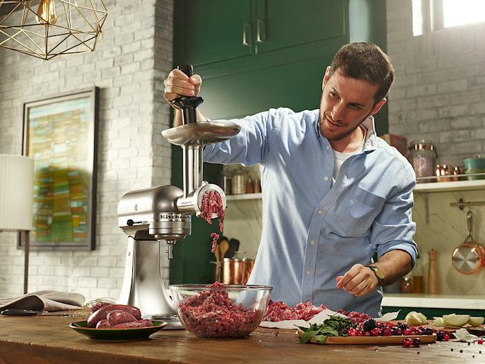 Kjøttkvern sett til Kjøkkenmaskin stål/svart