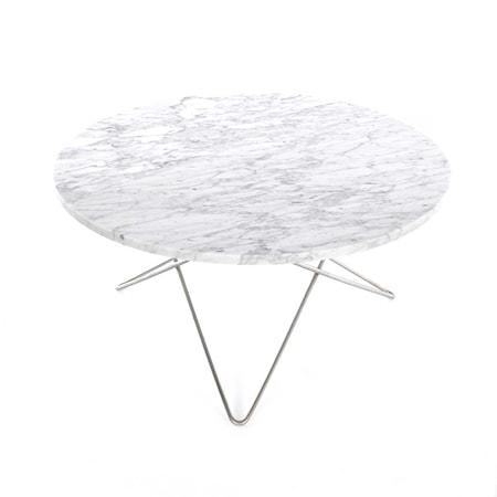 O Table Matt Hvit Marmor med Rustfri Stålramme Ø80