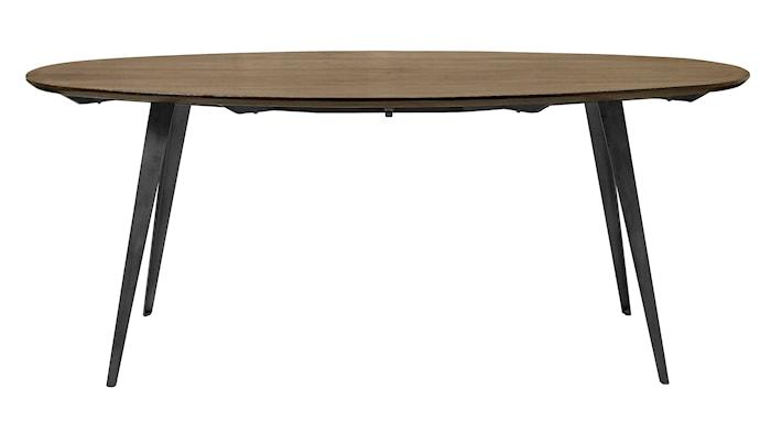 Oval dark wood spisebord