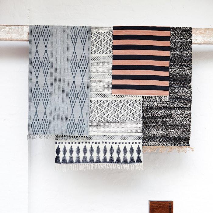 Block Teppich 60x90 cm Schwarz / Grau