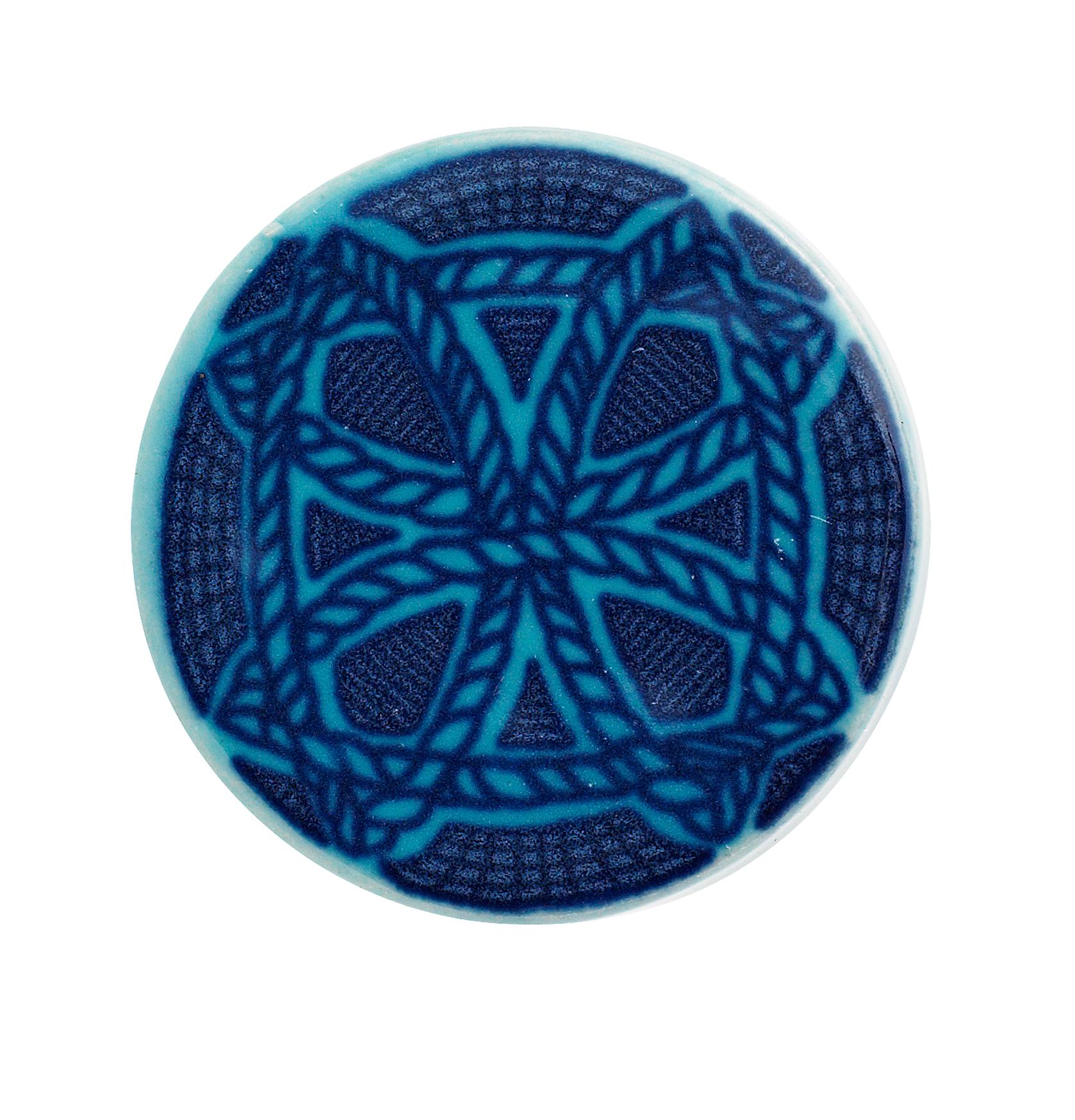 Keramikknopp Rund Ø 4cm – Blå