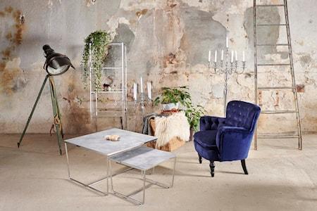 Stella Topplade, satsbord, gråt betonglas (sæt af 2)