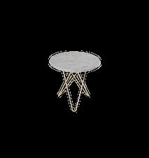 Tall Mini O Table Matt Hvit Marmor Messingramme Ø50