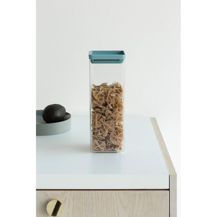 Fyrkantig förvaringsburk 2,5 L Transparant / Mint lock