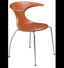 Flair stol – Ljusbrunt läder, kromade ben