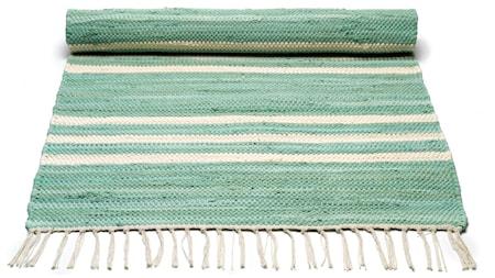 Cotton matta - Pale green/offwhite striped, 140x200