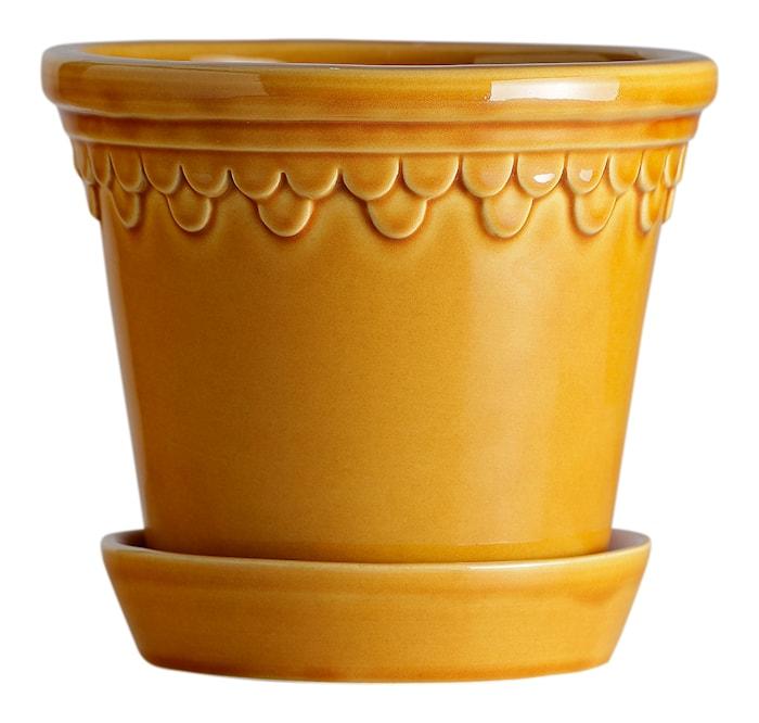 Köpenhamn Kruka med fat Glazed Yellow Amber 14 cm