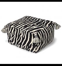 Puf Zebra Sort/Hvid 55x55 cm