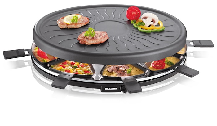Raclettegrill Rund med 8 pannor