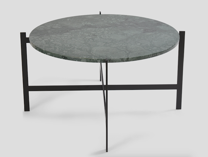 Deck table large - grön marmor/svartlackerad stomme