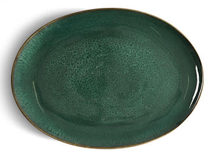 Piatto ovale nero/verde Bitz