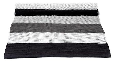 Bomullsmatta Svart/grå/vit Randig