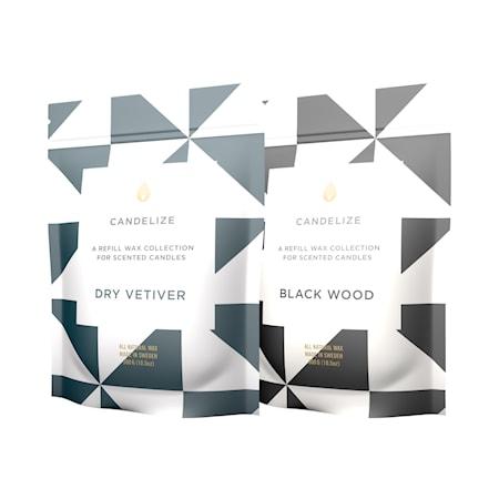 2-pack Tuoksukynttilä refill Black Wood/ Dry Vetiver 300g