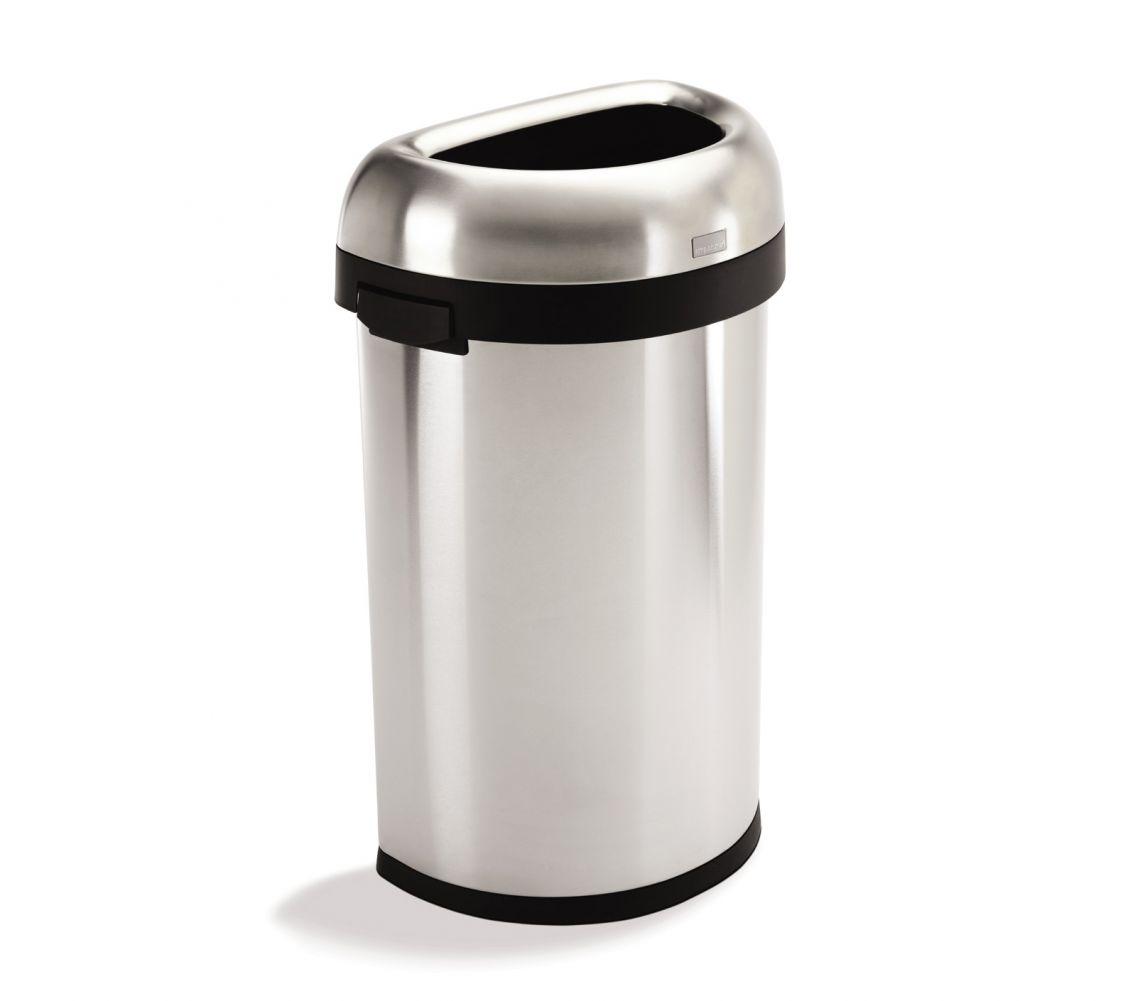 Semi-Rund öppen tunna 60 liter Borstat Stål