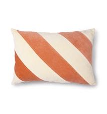 Striped Cushion Velvet peach/Cream 40 x 60 cm