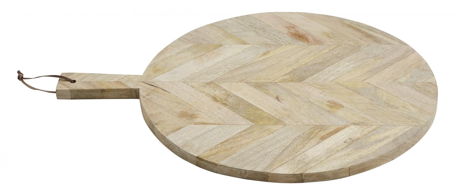 Skärbräda Rund i trä med snöre Large