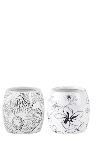 Vase Keramikk Hvit/Svart 10 cm