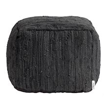 Ash Puff Svart Läder 45x45x35 cm