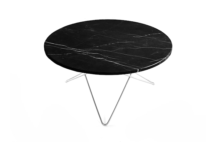 O Table Svart Marmor med Rustfri Stålramme Ø80