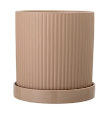 Flower Pot with Dish Brown
