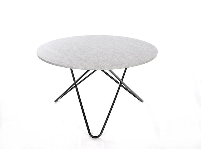 Big O Spisebord Sort/Mat Hvid Marmor Ø120 cm