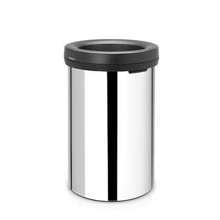 Open Top Bin, svart ring, ingen innerhink 60 L Blankborstat Stål