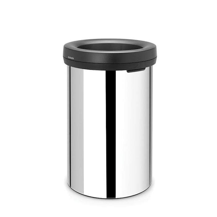 Open Top Bin, sort ring, ingen inderspand 60 L Blankbørstet Stål