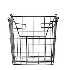 Kurv - m. hank - Metal - Sort - H 19,5cm - L 24,0cm - B 19,5cm