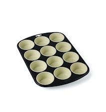 Muffinsform 12 hull grå/creme
