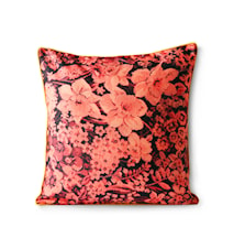 Printed Floral Cushion Coral/Black 50x50 cm
